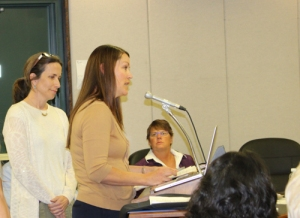Robin Kitlowski from Black Rock Elementary addresses the Board of Education.